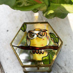 Vintage Owl Brass Glass Trinket Box